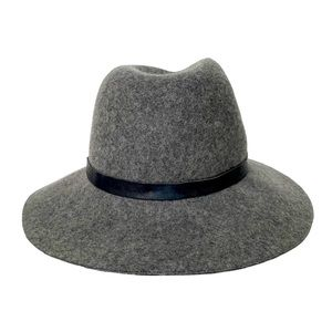 French Connection Wool Felt Fedora Leather Detail